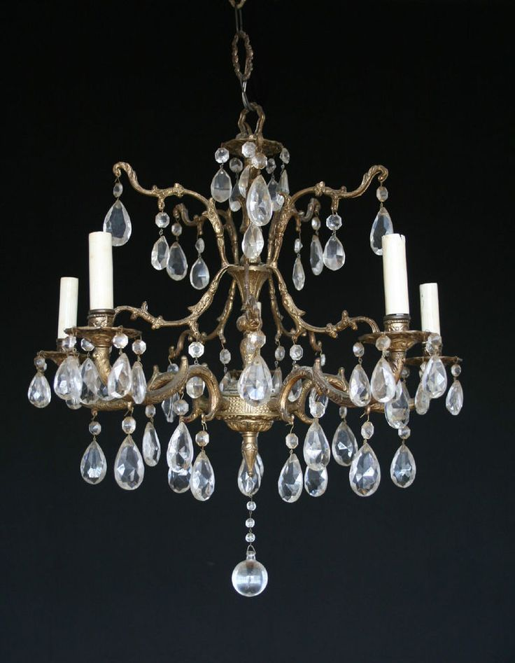 Antique vintage made in spain brass 5 light chandelier with 65 crystals - 10 Best Chandeliers Images On Pinterest Chandeliers, Chandelier