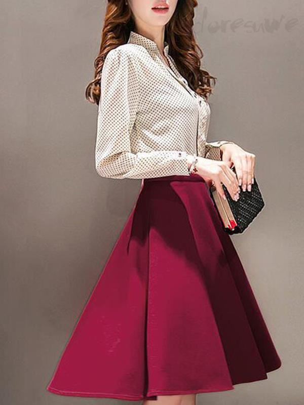 Doresuwe.com SUPPLIES 新作 レディースファッション水玉模様 長袖シャツ+ 細見効果スカート2点セット デートワンピース