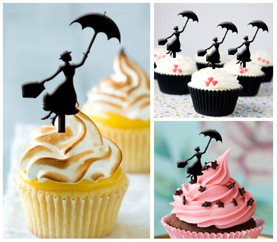 Ca040 New Arrival 10 pcs/ Decorations Cupcake Topper / Mary Poppins / Silhouette / Wedding / Props / Party / Vintage / Fun / Shop