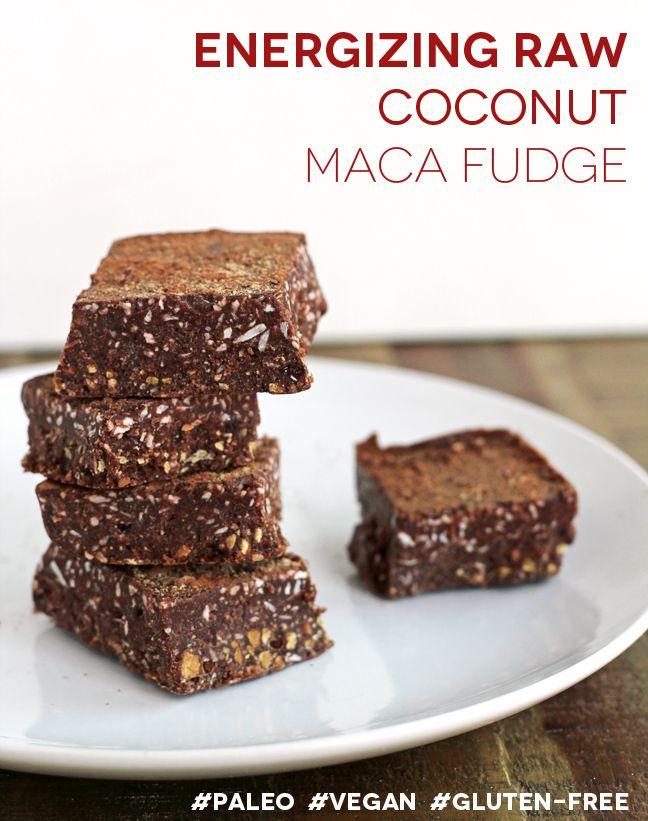 Energizing raw coconut maca fudge recipe. Vegan, paleo, gluten-free, and low-sugar.