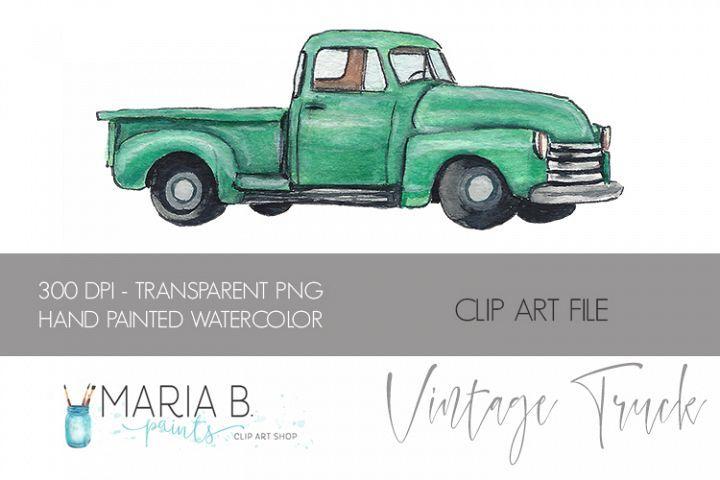 Classic Green Truck Watercolor Clipart Png 201083 Illustrations Design Bundles Classic Trucks Clip Art Classic Cars Vintage