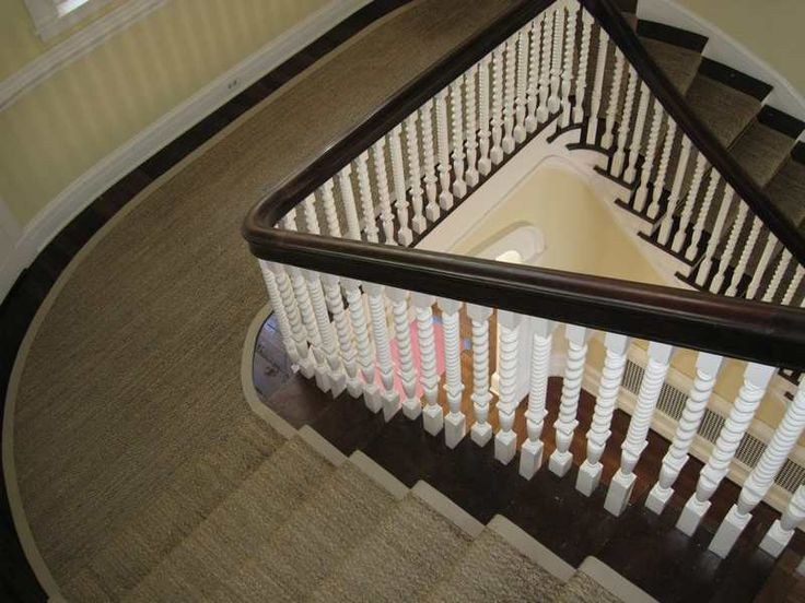 Main Front Curved Seagrass Stair Runner With Wide Canvas  Binding...Middleburg VA.
