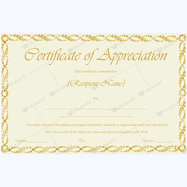 26 best Certificate of Appreciation Templates images on Pinterest - free appreciation certificate templates for word