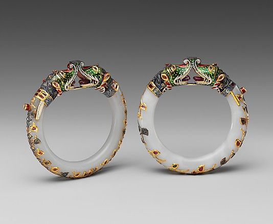 Mughal period (1526–1858) - specifically 18th–19th century, jade (nephrite) inlaid with gold, enamel, and stone bracelets