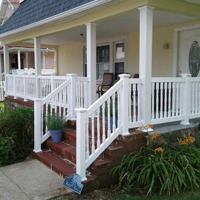 36 Pvc Baluster Front Porch Rails Vinyl Railing Front Porches Front Porch Makeover Porch Makeover