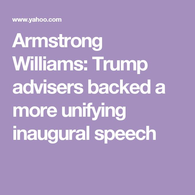 Armstrong Williams: Trump advisers backed a more unifying inaugural speech