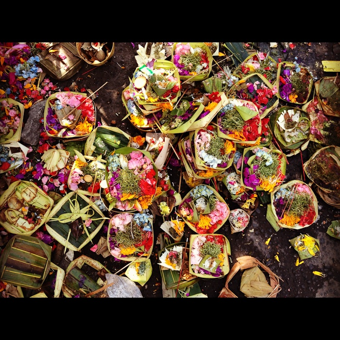 Offerings that can be found all over the sidewalks in Bali, Indonesia.