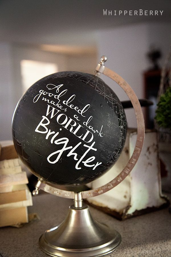 a fun globe with vinyl lettering from http://whipperberry.com #vinylletter #homedecor #silhouettecameo: Paintings Globes, Ideas, Chalkboards Paintings, Vinyls Letters, Vinyls Fees, Blackboard Paintings, Silhouette Cameo, Good Deeds, Globes Makeovers