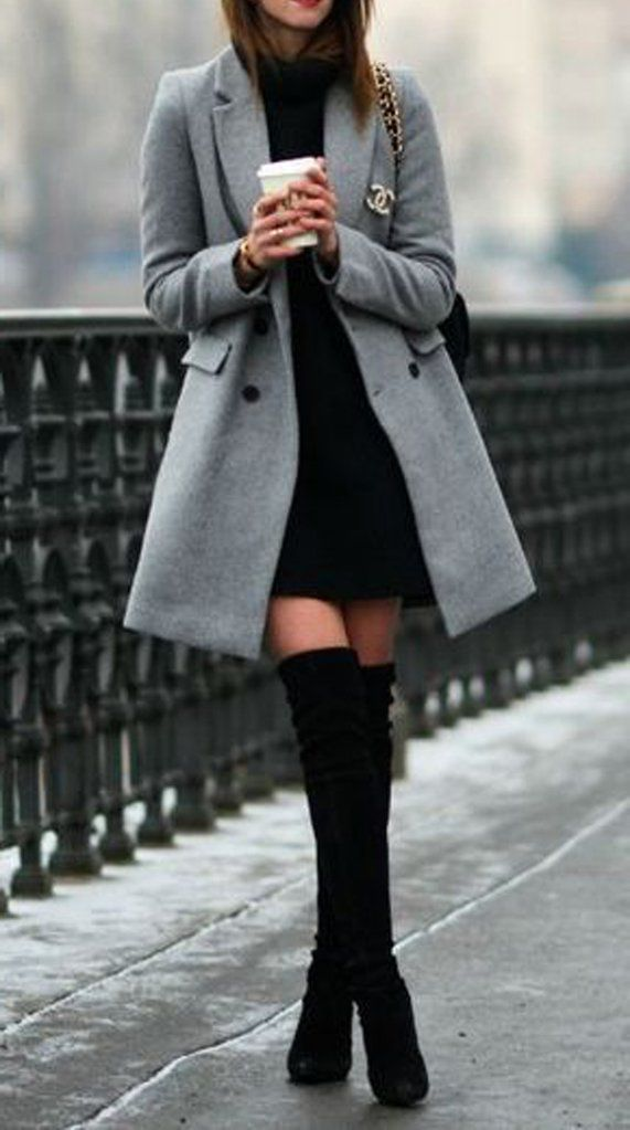 Classy Elegant Going Out Thigh High Boots Outfit Ideas for Women Fall or Winter  - Elegantes ideas para ropa de otoño o invierno para mujeres - www.GlamantiBeauty.com