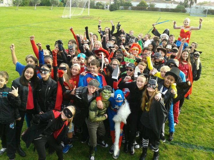 Grade 6 pupils dressed up as superheroes and villains. The activity is linked to an Art and Technology project which involves the creation of a stop-motion movie using plasticine and iPads.