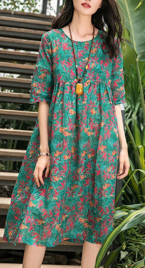 French green print linen Robes Omychic pattern o neck wrinkled cotton Summer Dress