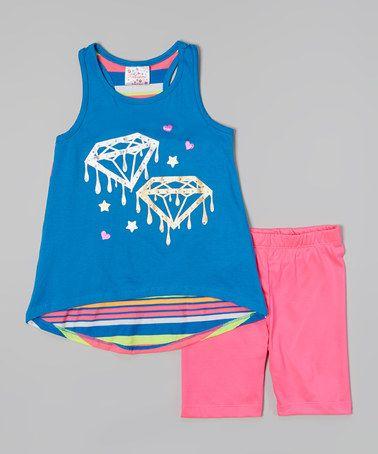 Look at this #zulilyfind! Blue Stripe Diamond Tunic & Pink Shorts - Infant, Toddler & Girls #zulilyfinds