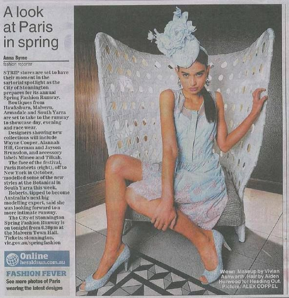 HOHB PRESS > The gorgeous Paris Roberts in today's Herald Sun, as the face of Stonnington Fashion Runway 2013! Hair by Aiden Horwood, Heading Out Hair & Beauty @hohb_aus #Melbourne #springracing #fashion #runway #parisroberts #model #mimco #waynecooper #stonningtonfashionrunway #hair #headingout #hohb #heraldsun #press