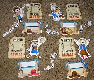 "western bulletin board sets | ... ""Wanted Star Student"" Western Cowboy Bulletin Board Set 