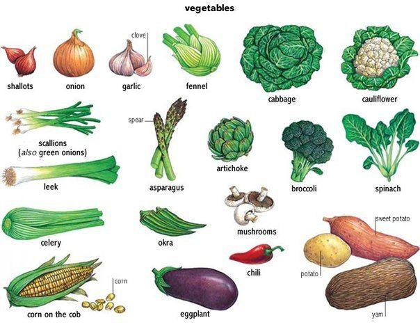 Овощи по-английски с картинками
