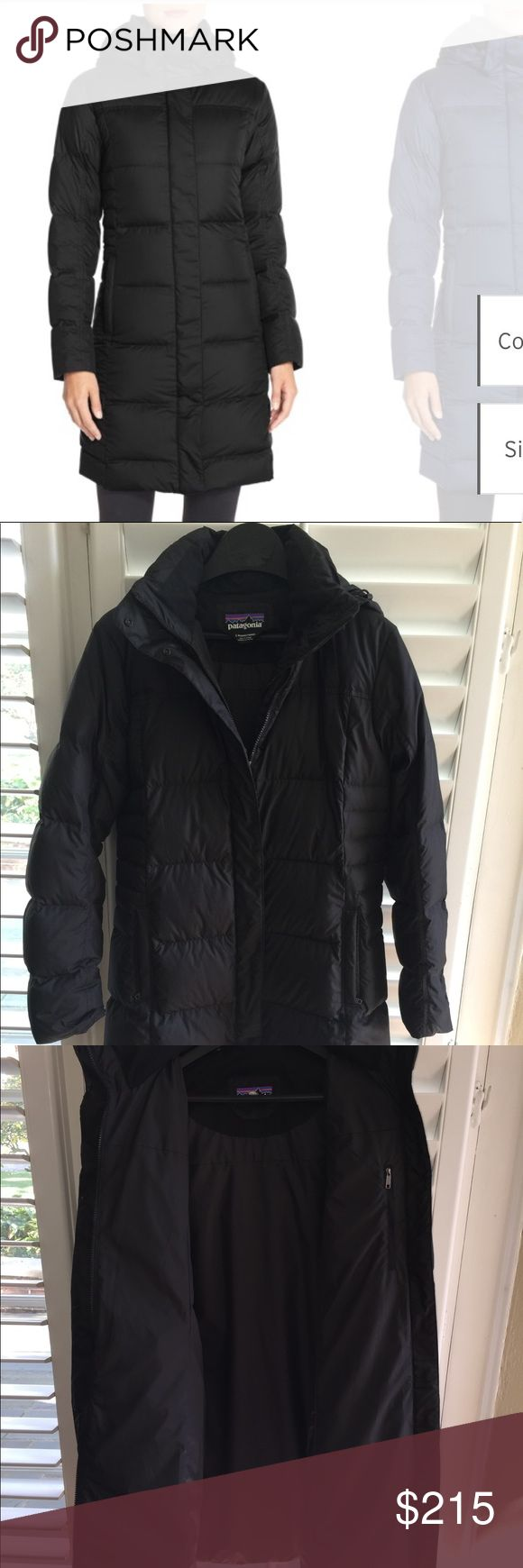 Down With It water repellent Patagonia parka No signs of wear! This is a brand new jacket that barely went through one winter season. Black Patagonia water repellent parka. Seriously the coziest warmest parka that's easy to move in and adjust to your preferences. Would love to find this in a smaller size. Patagonia Jackets & Coats Puffers