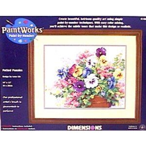 Dimensions Needlecrafts Paintworks Paint By Number, Potted Pansies by Dimensions Needlecrafts. $12.46. Includes high-quality acrylic paints. Professional-quality #1 round paintbrush. Finished Size: 20-Inch by 12-Inch. Easy-to-follow instructions. From the Manufacturer                PaintWorks - Potted Pansies Paint-by-Number Kit                                    Product Description                A profusion of pansies and other posies strikes a cheerful note ind...