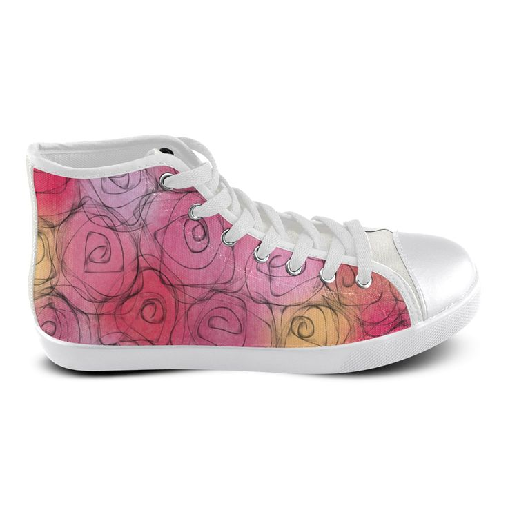 Red Pastel Roses. Inspired by the Magic Island of Gotland. Women's High Top Canvas Shoes (Model 002)