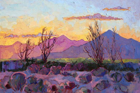 "Ocotillo California Desert Sunset Landscape Impressionism Ltd Ed Print Giclee by Erin Hanson 30"""