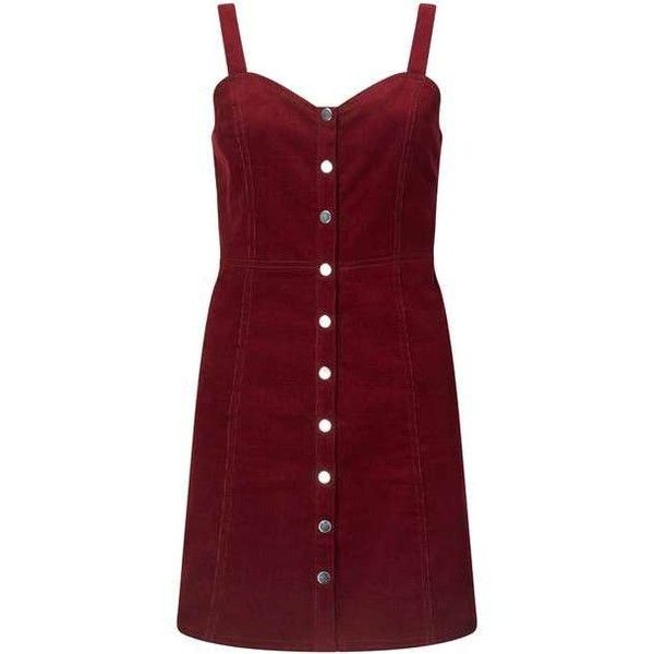 Burgundy Cord Pinny Dress ($51) ❤ liked on Polyvore featuring dresses, red dress, burgundy dresses, miss selfridge, red pinafore dress and pinafore dress
