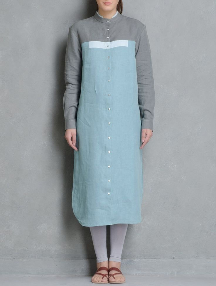 Buy Cyan Layered Collar Button Down Kurta by Doodlage Linen Apparel Tunics & Kurtas Reclaimed! Upcycled Dresses Pants Tops Online at Jaypore.com