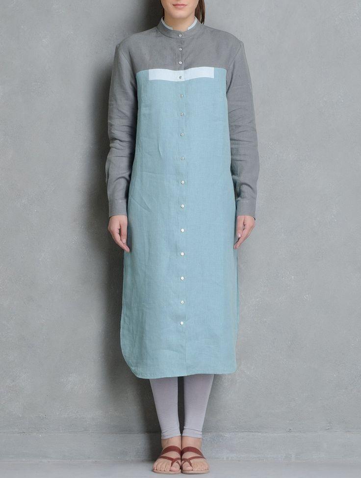 Buy Cyan Layered Collar Button Down Kurta by Doodlage Linen Apparel Tunics & Kurtas Reclaimed! Upcycled Dresses Pants Tops Online at Jaypore.com