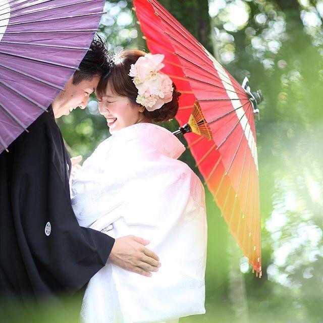 和装の《前撮り》に欠かせないアイテム! 「和傘」 を使った素敵なポーズ&アイディア*16選   ZQN♡