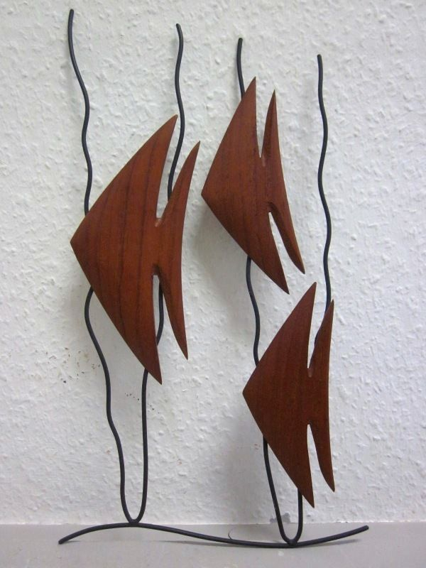 Danish modernist TEAK wall deco - THREE FISH 1950s mid-century modernist