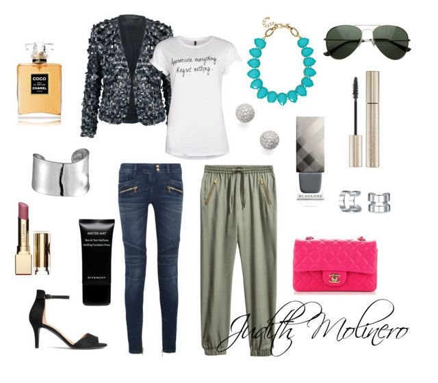 """""""sequin jacket with t-shirt"""" by judith-molinero-fashion on Polyvore featuring Donna Karan, H&M, Balmain, Towne & Reese, Lord & Taylor, Bony Levy, Chanel, Burberry, Clarins and Giorgio Armani"""