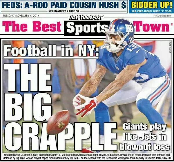 NY Post not happy with Giants!