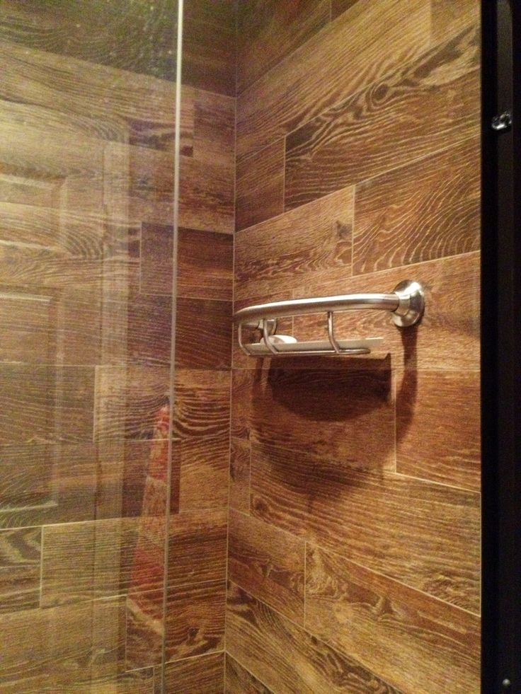 Wood Tiled Shower Home Pinterest Faux Wood Tiles Wood Ceramic Tiles And Double Shower