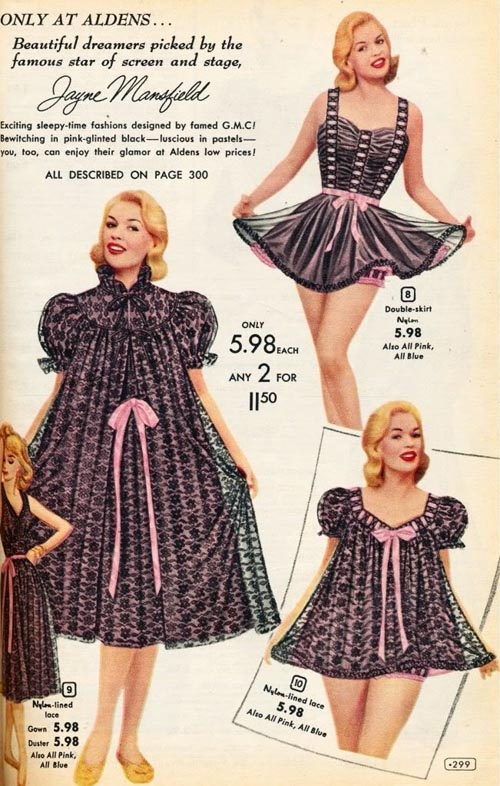 Advertisement for sleepwear featuring Jayne Mansfield, 1956-57. Love how the clothing is just drawn on.