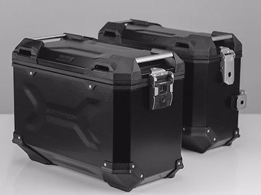 TRAX ALUMINIUM ADVENTURE PANNIERS available from DUSTRIDERS MOTORCYCLE ACCESSORIES