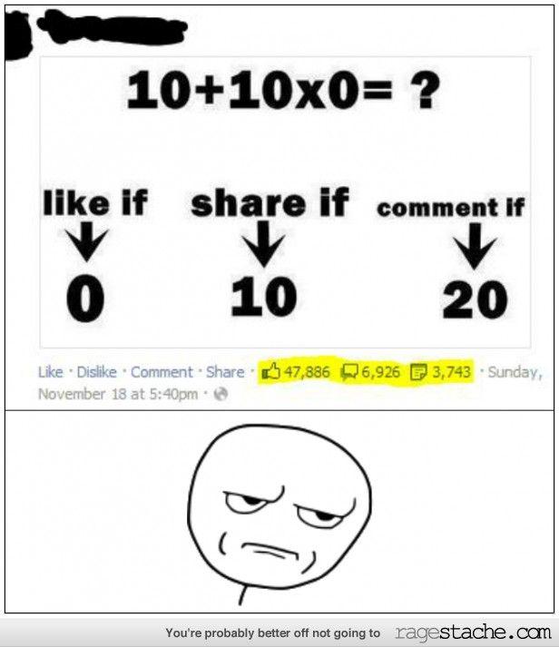 Facebook fails at math btw it's 0