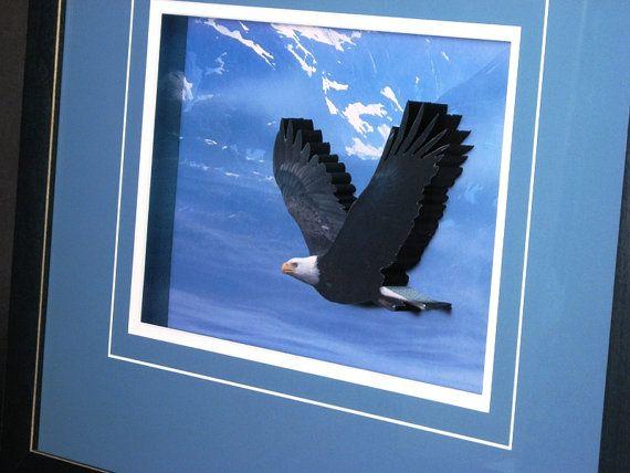 #Eagle #3DArt - A #Soaring Eagle #framed in #Blue #Sky #framedart #animalart #art #birds #birdart
