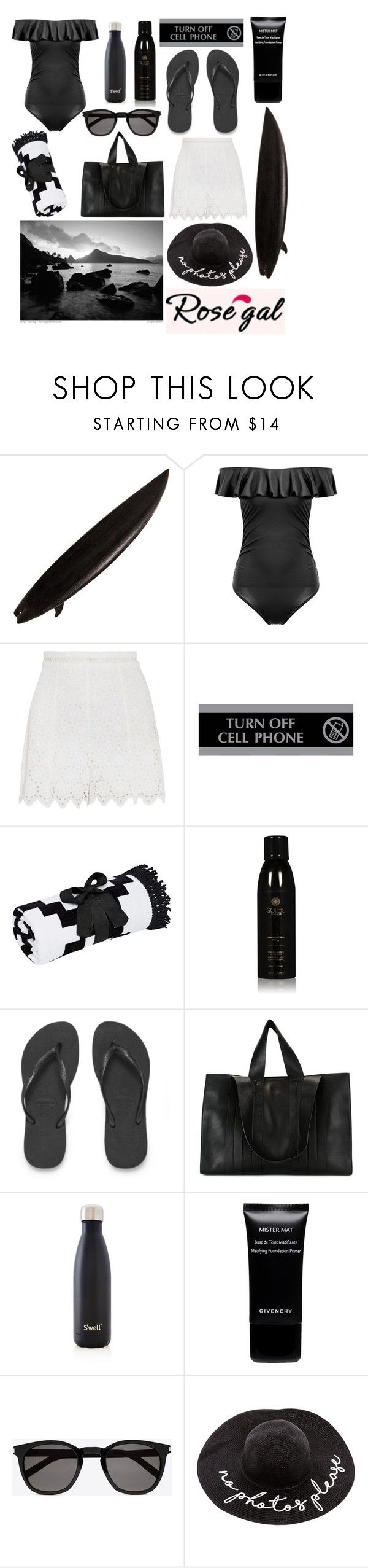 """Chic Beach"" by newplanet ❤ liked on Polyvore featuring Elisabeth Weinstock, Zimmermann, U.S. Stamp & Sign, Soleil Toujours, Havaianas, Corto Moltedo, S'well, Givenchy, South Beach and Yves Saint Laurent"