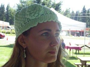 Pale green Zizta Sista crocheted hat with flower  http://www.myblacktreasure.com/product/zizta-sista/