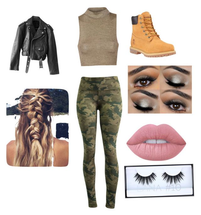 """""""Army outfit #1"""" by alexiaariana ❤ liked on Polyvore featuring 90 Degree by Reflex, Timberland, Jean-Paul Gaultier, Lime Crime and Huda Beauty"""