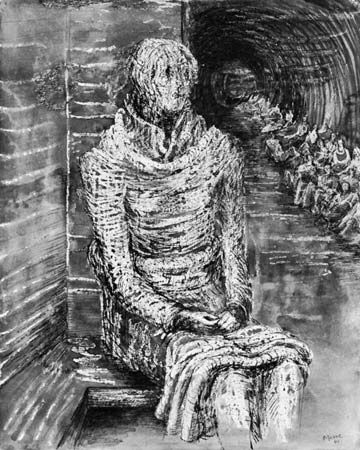 Henry Moore  Woman Seated in the Underground, 1941  Gouache, pen and ink, ink wash, watercolour and crayon on paper.