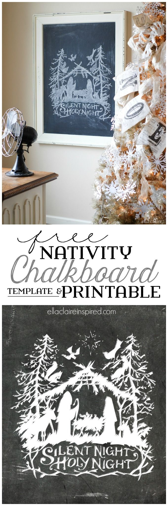 Print the Chalkboard printable as-is or use the free template and tutorial to create your own Nativity Chalkboard Art! by Ella Claire