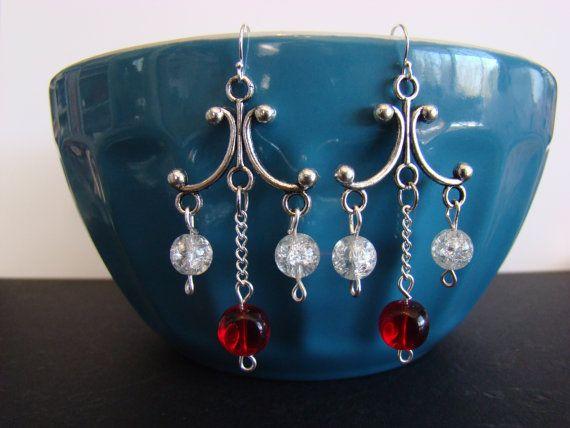 Red and Clear Chain Dangle Chandelier Earrings by KraftsByKeller, $9.00