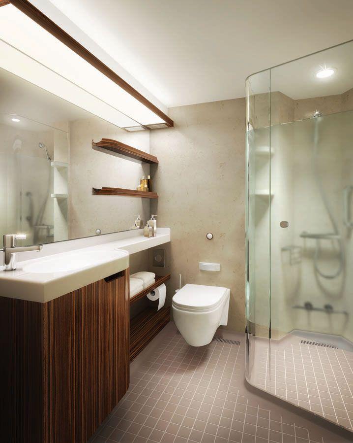 Balcony stateroom bathroom on board Norwegian Epic