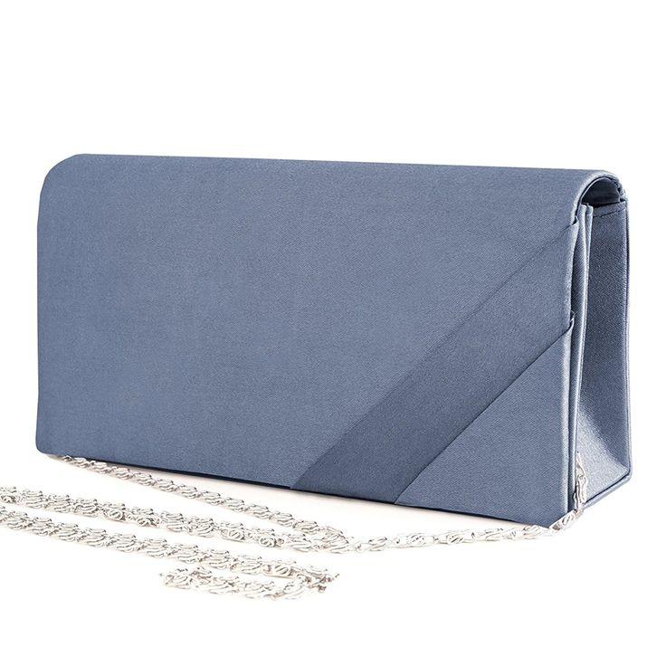 Clutch , Evening Bag Satin / Silver Chain Mod. 2078 by fashion-formel: Amazon.de: Schuhe & Handtaschen
