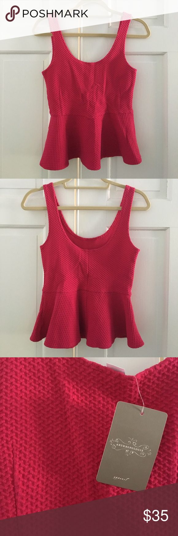 Anthropologie Peplum Top Cute!!!! Hot pink peplum top with waffle-like design. Straps wide enough to conceal bra strap. 95% cotton 5% elastane. Anthropologie Tops