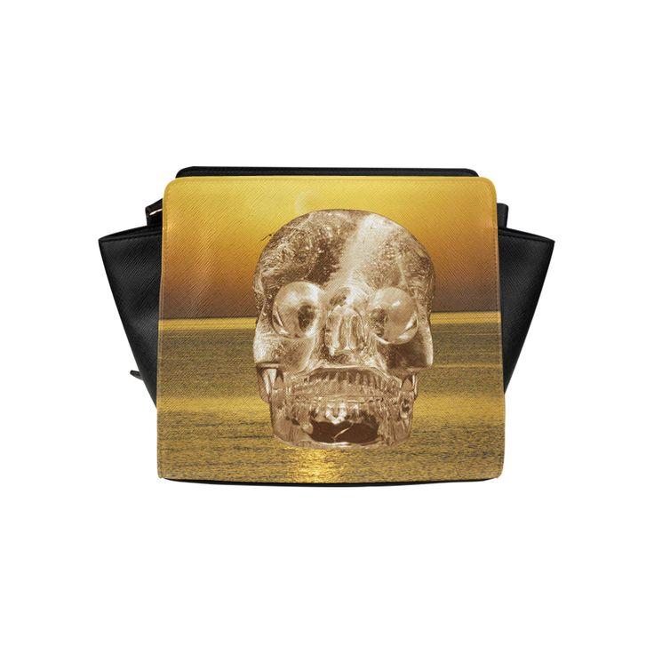 Crystal Skull Gold Satchel Bag (Model 1635)