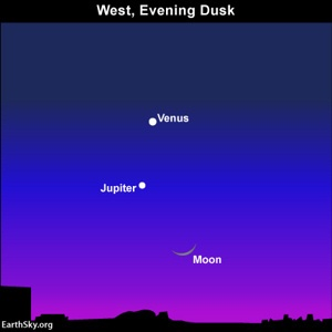 The moon, Jupiter and Venus as seen from North America on Saturday, March 24