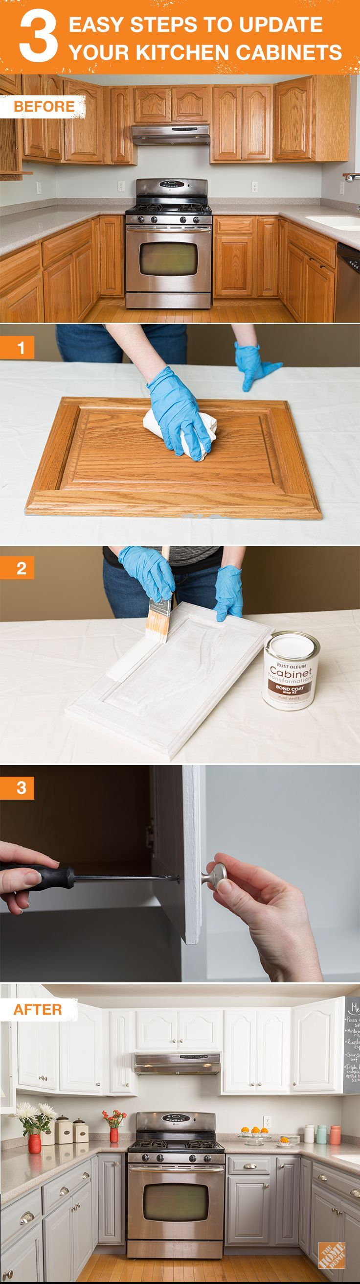 Update your kitchen cabinets in 3 easy steps. With Rust-Oleum paint, you can give your kitchen a new, refreshed look. Save time and money with this DIY tutorial on The Home Depot Blog.: