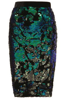 Velvet Sequin Pencil Skirt #TOPSHOP