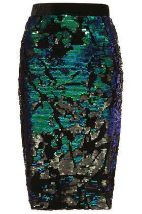Velvet Sequin Pencil Skirt by: Topshop