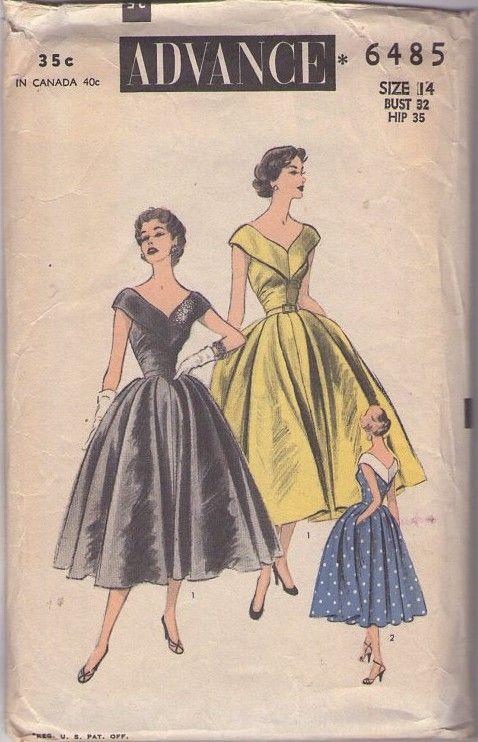 Advance 6485 Vintage 50s Sewing Pattern INCREDIBLE Rockabilly Era Mad Men Low Cut V Neck